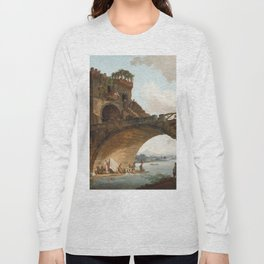 The Ponte Salario Oil painting by Hubert Robert Long Sleeve T-shirt