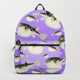 Puffer Fish Violet Purple Pattern Backpack