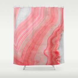 Coral Pink Agate Shower Curtain