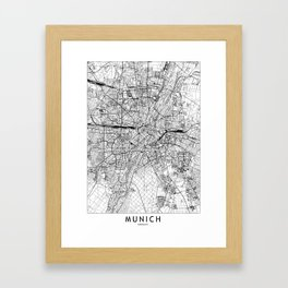 Munich White Map Framed Art Print