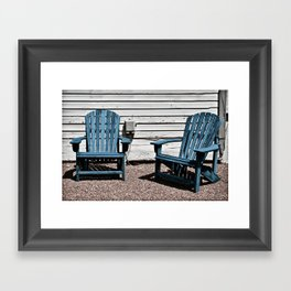 Sit Awhile In Blue Framed Art Print