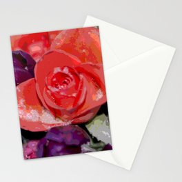 Snow settling on a top of Bouquet of flowers Stationery Cards
