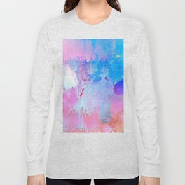 Abstract Candy Glitch - Pink, Blue and Ultra violet #abstractart #glitch Long Sleeve T-shirt