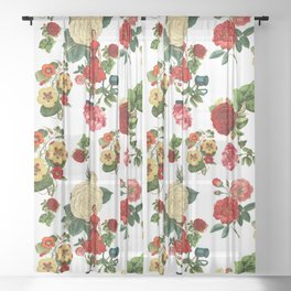 Keep it clean floral collage Sheer Curtain