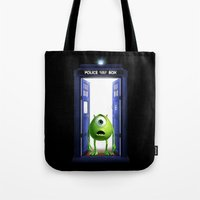 monster inc Tote Bags featuring Tardis Monster inc by DavinciArt