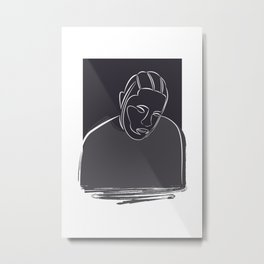 Kendrick Lamar portrait (white on black) Metal Print
