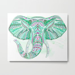 Sea Green Ethnic Elephant Metal Print