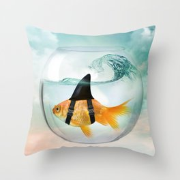 Goldfish with a Shark Fin 19 Throw Pillow