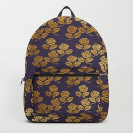 Dark Purple Gold Rose Backpack