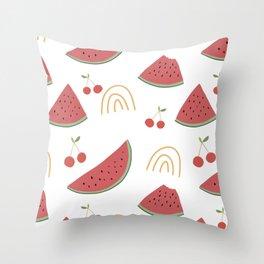 Watermelon Cherries Modern Pattern Throw Pillow