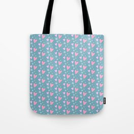 Abstract pink turquoise romantic hearts floral pattern Tote Bag