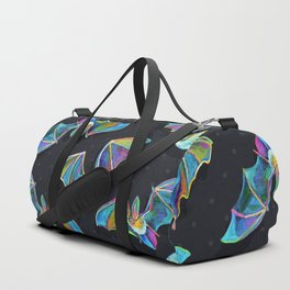 Psychedelic Bats on Black Duffle Bag