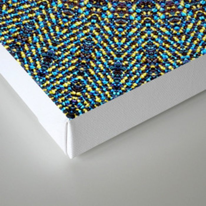 Happy Sun Circle Bohemian Geometric Thread Weave Pattern \\ Yellow Green Blue Purple Color Scheme Canvas Print