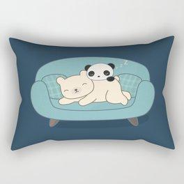 Kawaii Lazy Panda and Polar Bear Rectangular Pillow