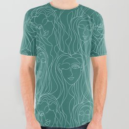 Green Ladies All Over Graphic Tee