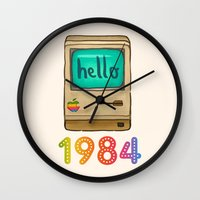 1984 Wall Clocks featuring 1984 by Laura Wood