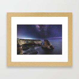 Milky Way over Shark Fin Cove Framed Art Print