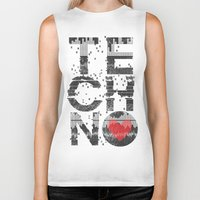 springsteen Biker Tanks featuring I love Techno by Sitchko Igor