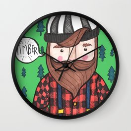 Timber Lumberjack Wall Clock