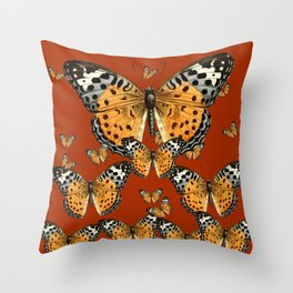 DECORATIVE BROWN COLOR ART & FLYING  BUTTERFLIES Throw Pillow