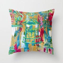 Pagoda Punch Pink Throw Pillow