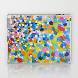 SWEPT AWAY 1 - Bright Colorful Rainbow Blue Ocean Waves Mermaid Splash Abstract Acrylic Painting Laptop & iPad Skin