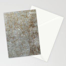 Metal plate with old-slavonic text Stationery Cards