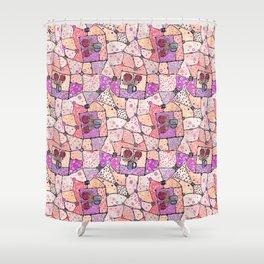 Vintage Grandma Quilt, Textured Watercolor Lavender Purple Flower Quilting Pattern Illustration Shower Curtain