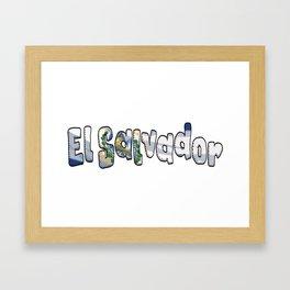 El Salvador Font with Salvadoran Flag Framed Art Print