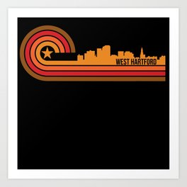 Retro Style West Hartford Connecticut Skyline Art Print
