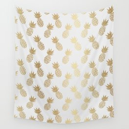 Gold Pineapple Pattern Wall Tapestry