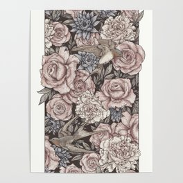 Flowers & Swallows Poster