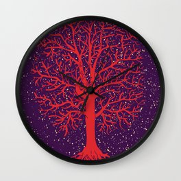 RED TREE Wall Clock