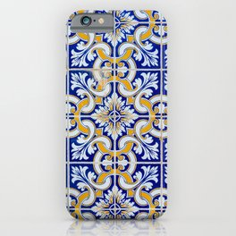 Close-up of blue, white and yellow ceramic wall tiles in Tavira, Portugal iPhone Case