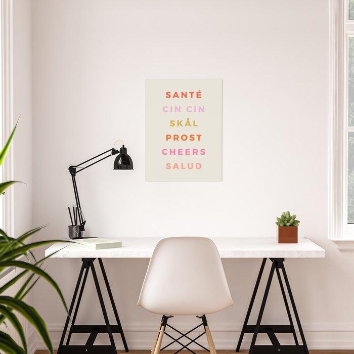 """""""CHEERS!"""" Around The World Type Print Poster"""