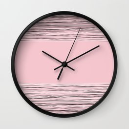 Pink abstract pattern . Line Wall Clock