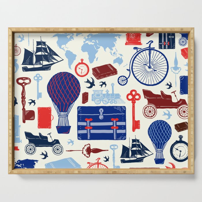 All Aboard to Explore Our Marvelous World - Vintage Travel from the Victorian Era Serving Tray