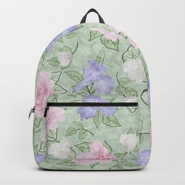 Flower Play Pink Lavender Green Antique Look Backpack