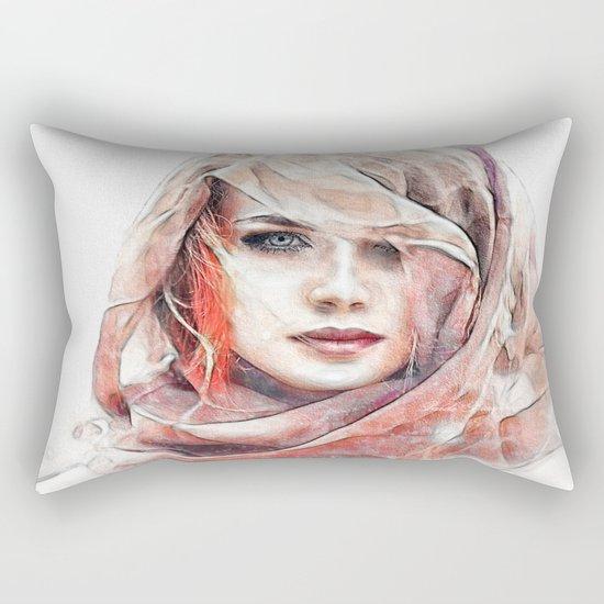 Girl under the scarf Rectangular Pillow
