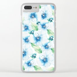 Hand painted blue white green watercolor floral pattern Clear iPhone Case