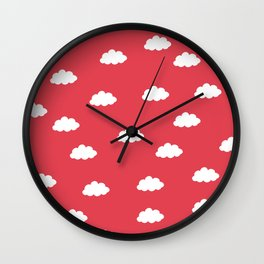 White clouds in red background Wall Clock