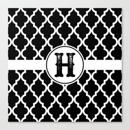 Black Monogram: Letter H Canvas Print