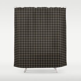 Mini Black and Sandstone Brown Western Cowboy Buffalo Check Shower Curtain