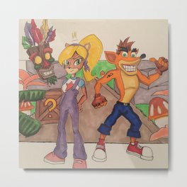 Crash x Coco Metal Print