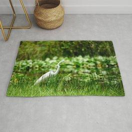Great Egret in a Green Field Rug