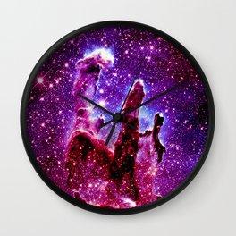 galaxy nebula : Pink & Purple pillars of creation Wall Clock