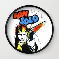 han solo Wall Clocks featuring Han Solo by Popp Art