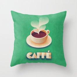 Art Deco Vintage Retro Coffee - Green Throw Pillow