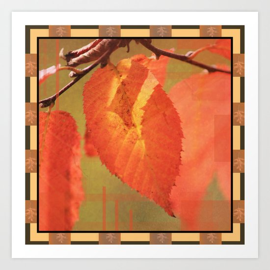 Shadowed Orange/Red Leaf Box Type 2 Art Print