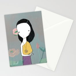 Girl with water lilies Stationery Cards